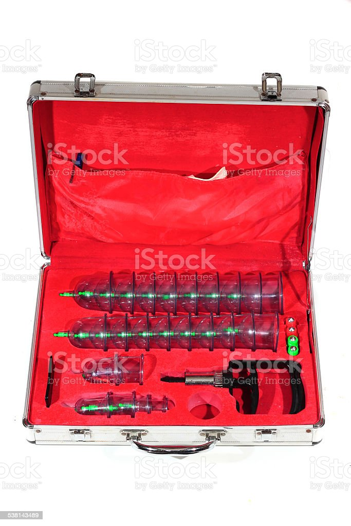 Medical cupping therapy equipment in the briefcase stock photo