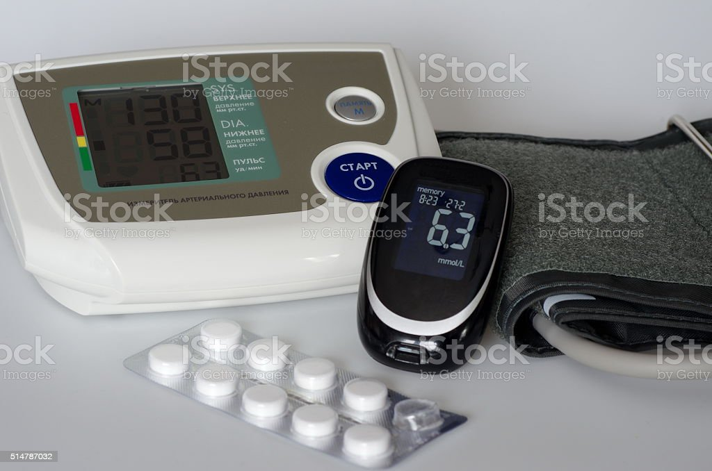 Medical devices blood pressure monitor and glucometer stock photo