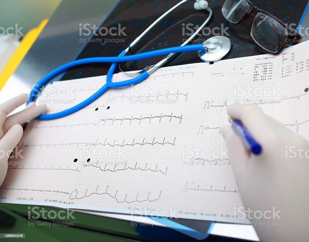 Medical diagnostic tools in the doctor's office stock photo
