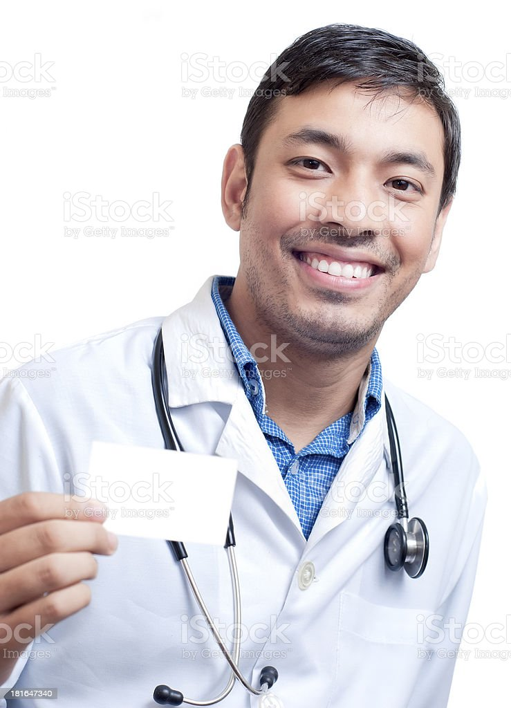 Medical Doctor Showing his Business Card royalty-free stock photo