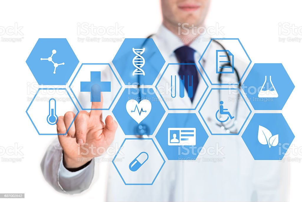 Medical doctor touching virtual interface button of healthcare application stock photo