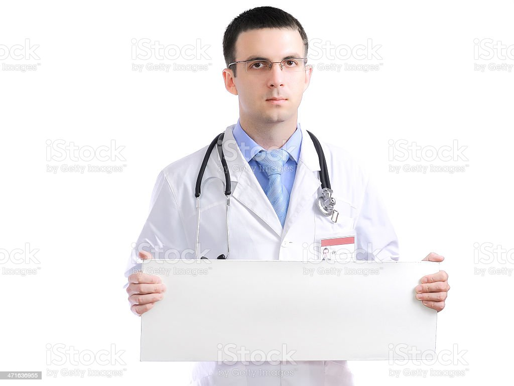 Medical doctor with blank poster. Isolated royalty-free stock photo
