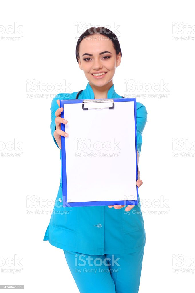 Medical doctor woman show empty blank clipboard royalty-free stock photo
