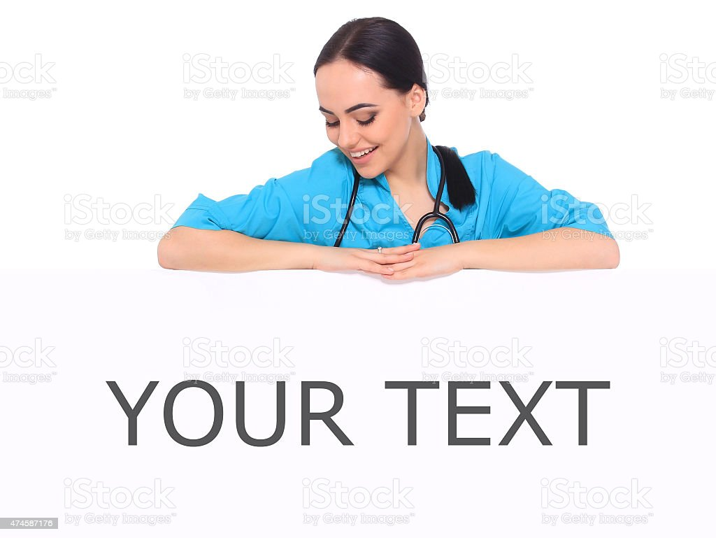Medical doctor woman show empty blank royalty-free stock photo
