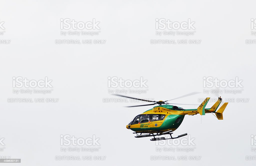 Medical emergency helicopter stock photo