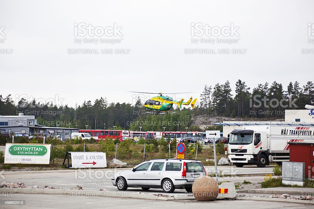 Medical emergency helicopter taking off stock photo