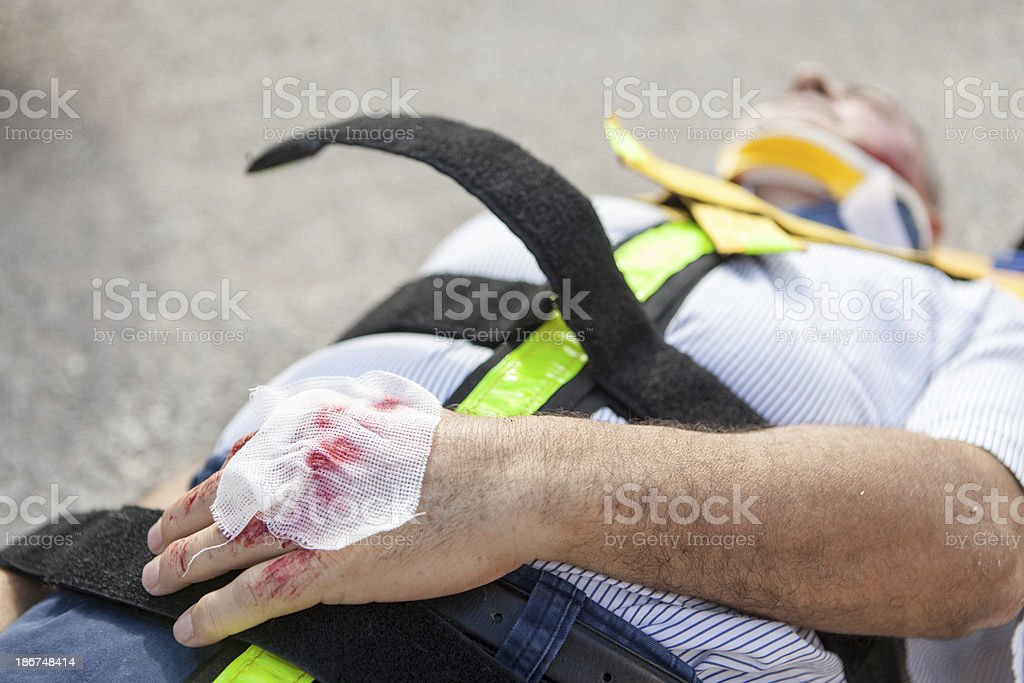 Medical emergency team first aid at street accident royalty-free stock photo