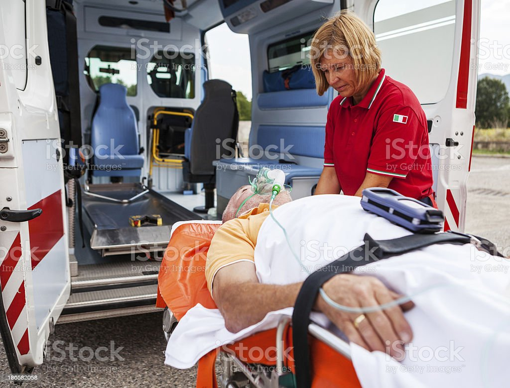 Medical emergency team first aid at street accident inside the...