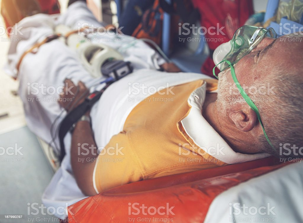 Medical emergency team first aid in the ambulance stock photo