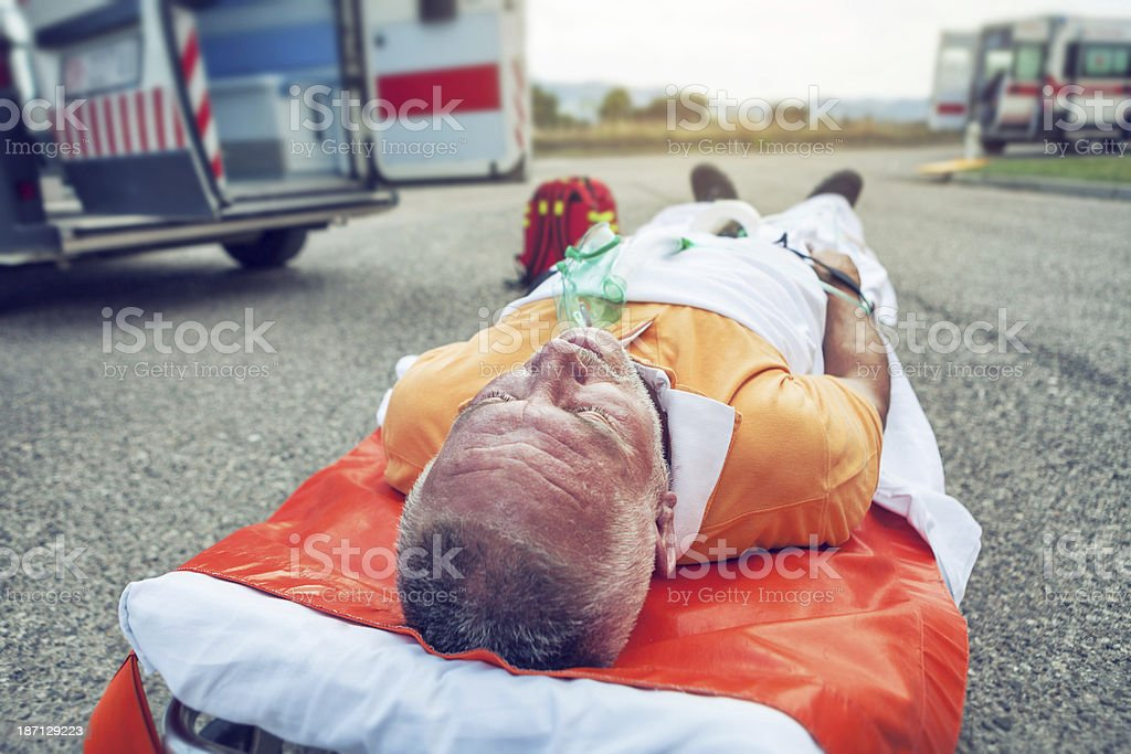 Medical emergency team first aid on the street stock photo