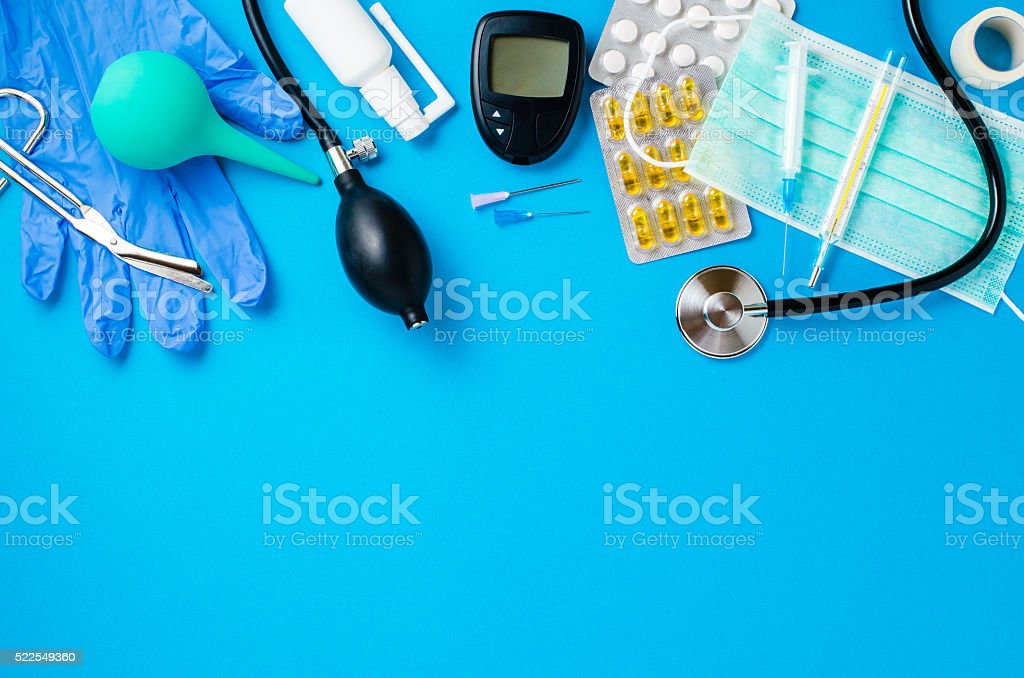 Medical equipment background stock photo