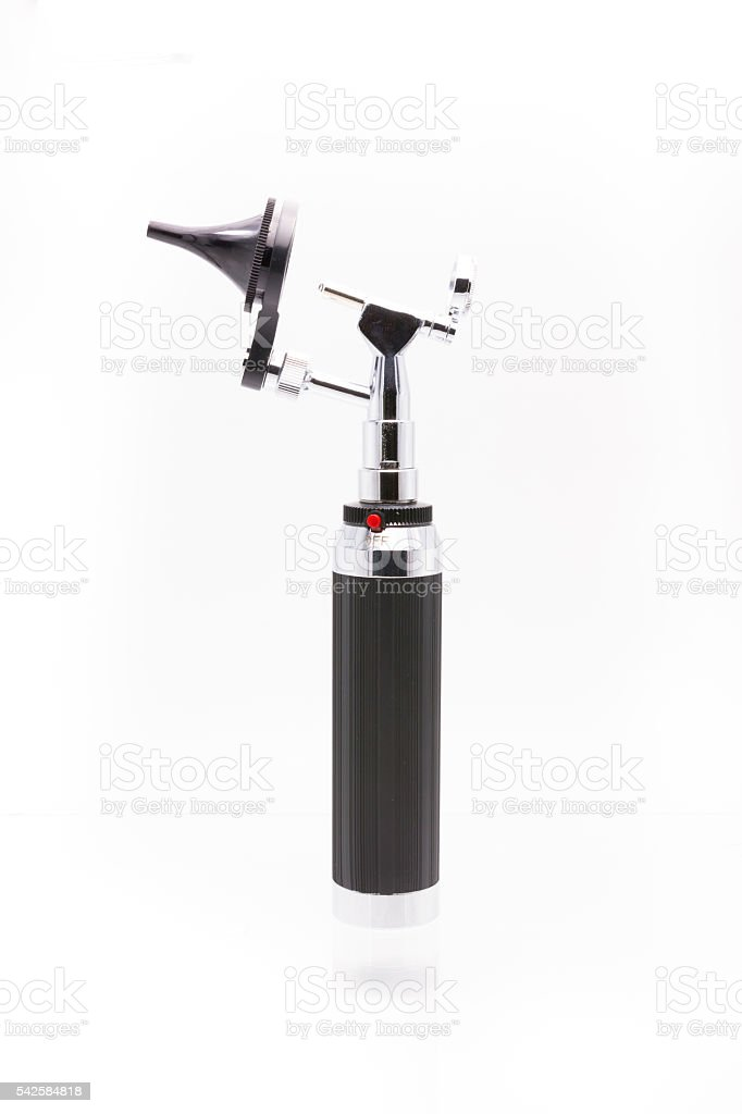 Medical equipment diagnostic ear exam.Otoscope on white backgrou stock photo