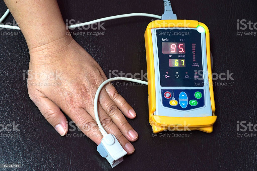 Medical equipment, doctors and nurses use to measure the oxygen stock photo
