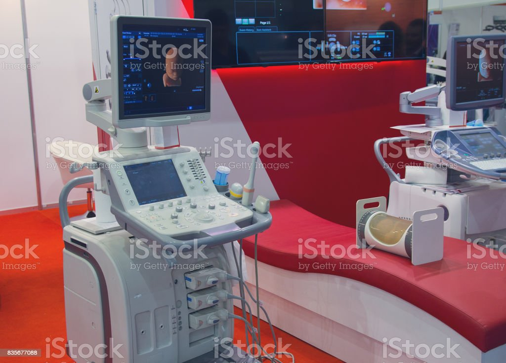 Medical equipment in the exhibition hall. Medicine stock photo