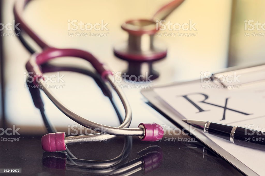 Medical equipment on table stock photo