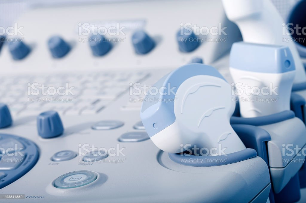 medical equipment, ultrasound machine closeup stock photo