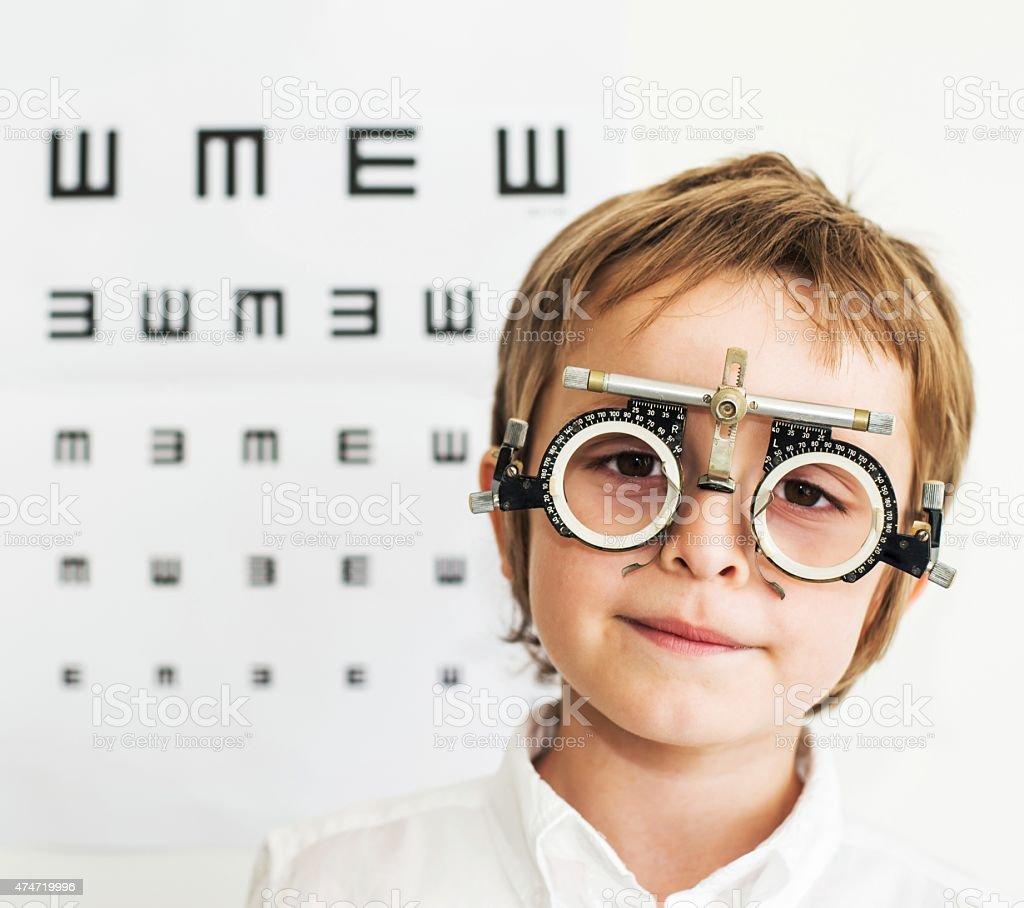 Medical Exam. Child and Eye Test. stock photo