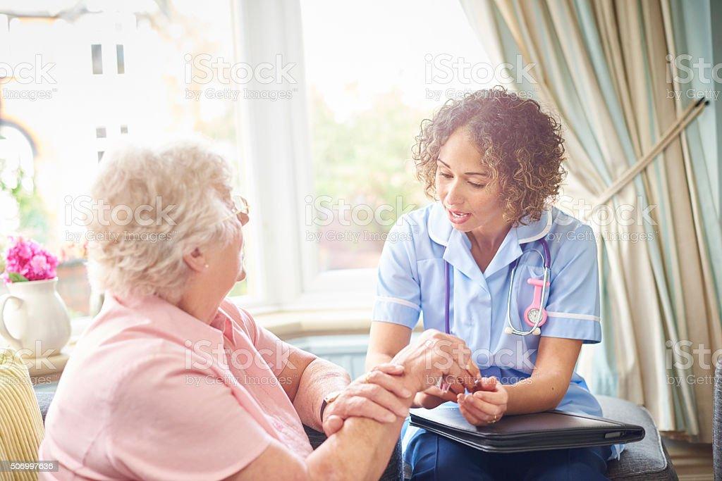 medical examination at home stock photo