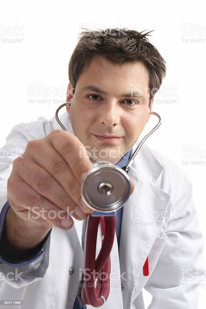Medical examination checkup  - doctor with stethoscope stock photo
