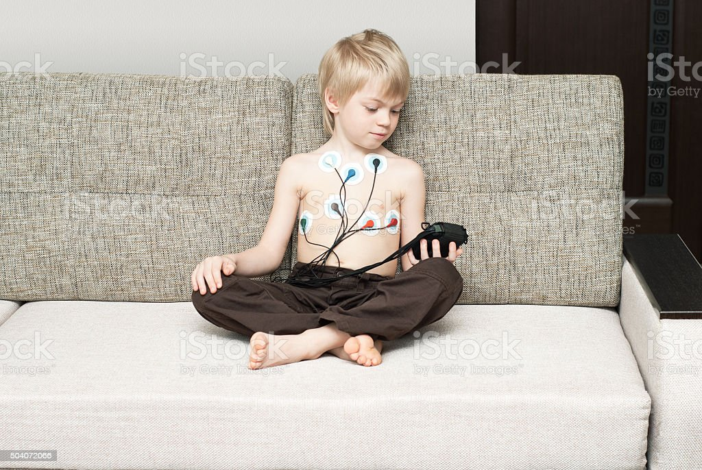 Medical examination of heart of the child stock photo