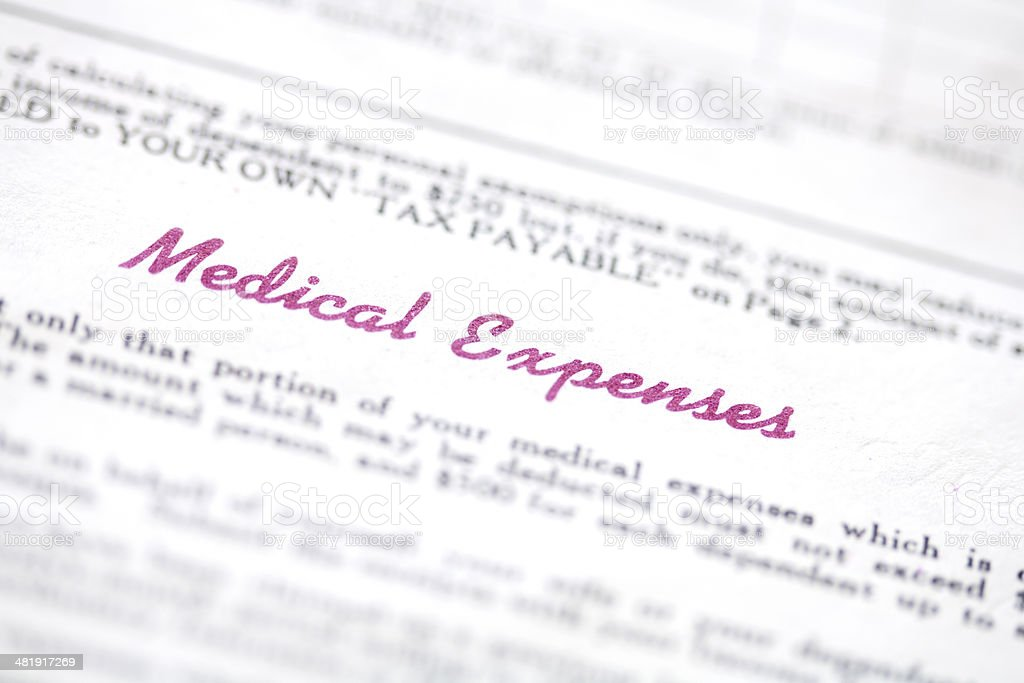 Medical Expense Form For Income Tax stock photo