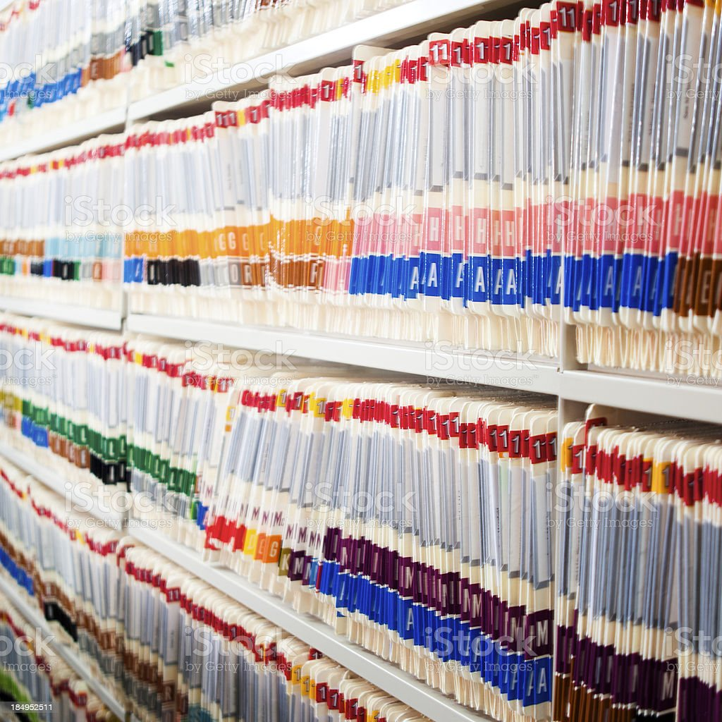 Medical Files In Shelf royalty-free stock photo