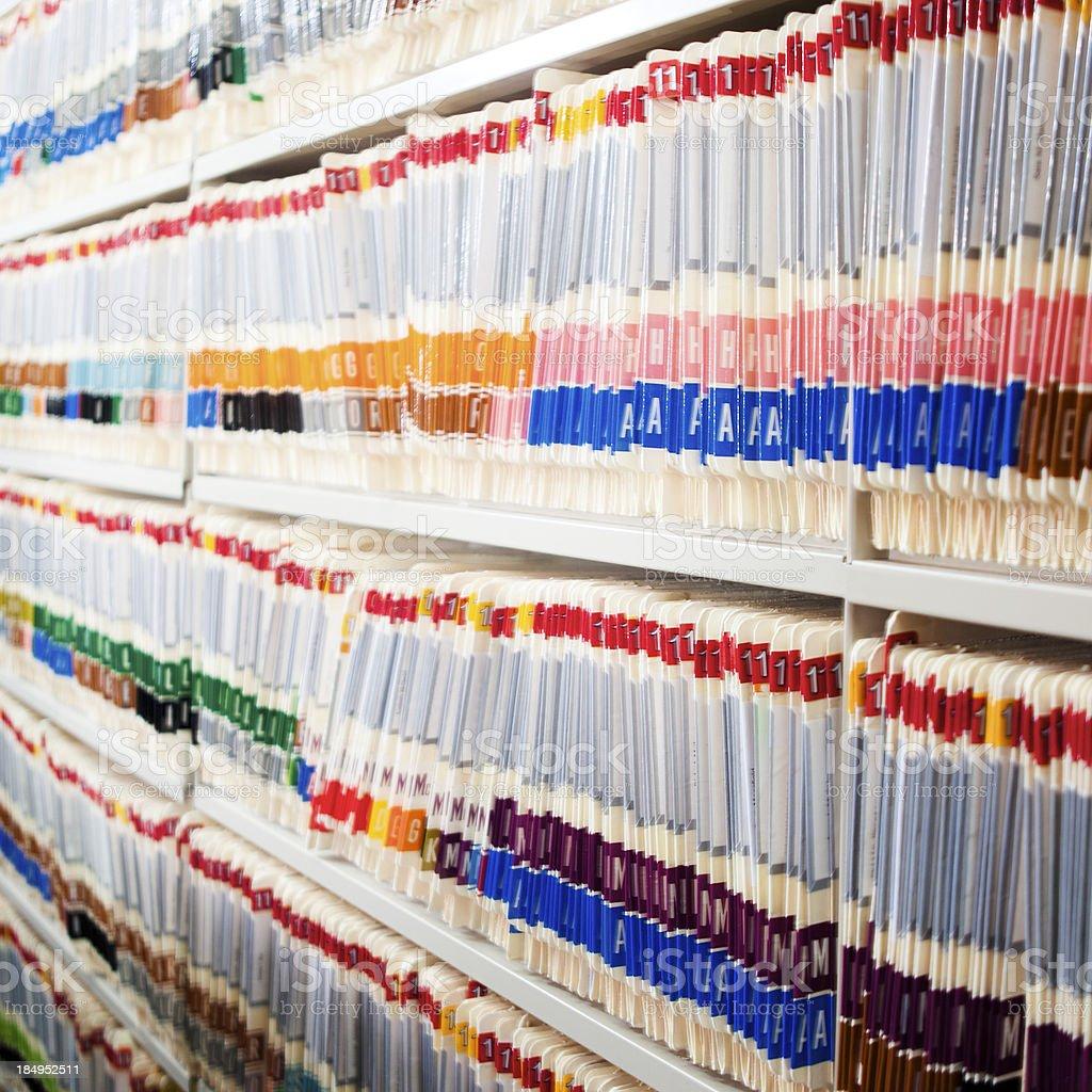 Medical Files In Shelf stock photo