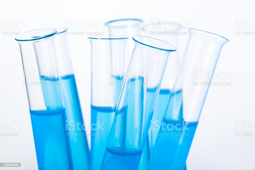 Medical flasks stock photo