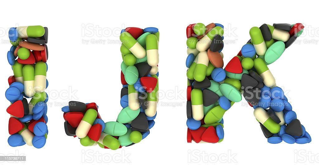 Medical font I J and K pills letters stock photo