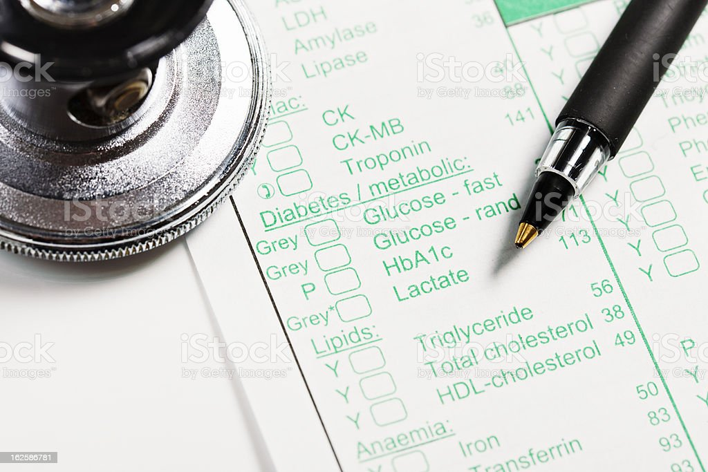 Medical form for ordering blood tests, stethoscope and pen royalty-free stock photo