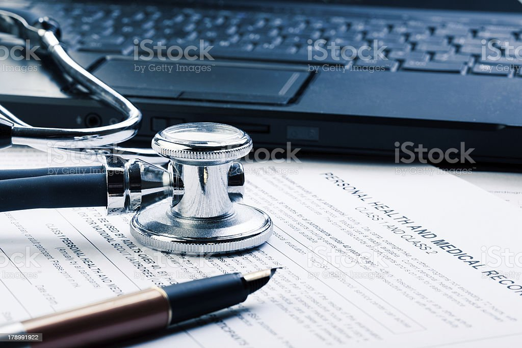 Medical form in blue tone stock photo