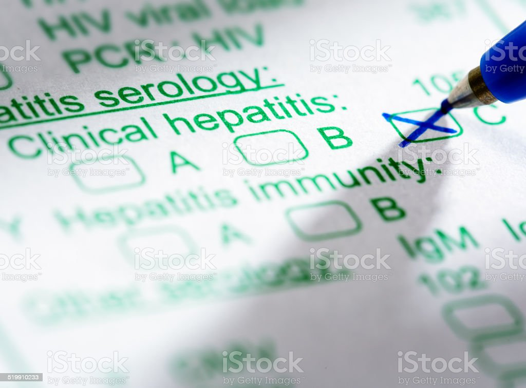 Medical form ordering blood test for Hepatitis C stock photo