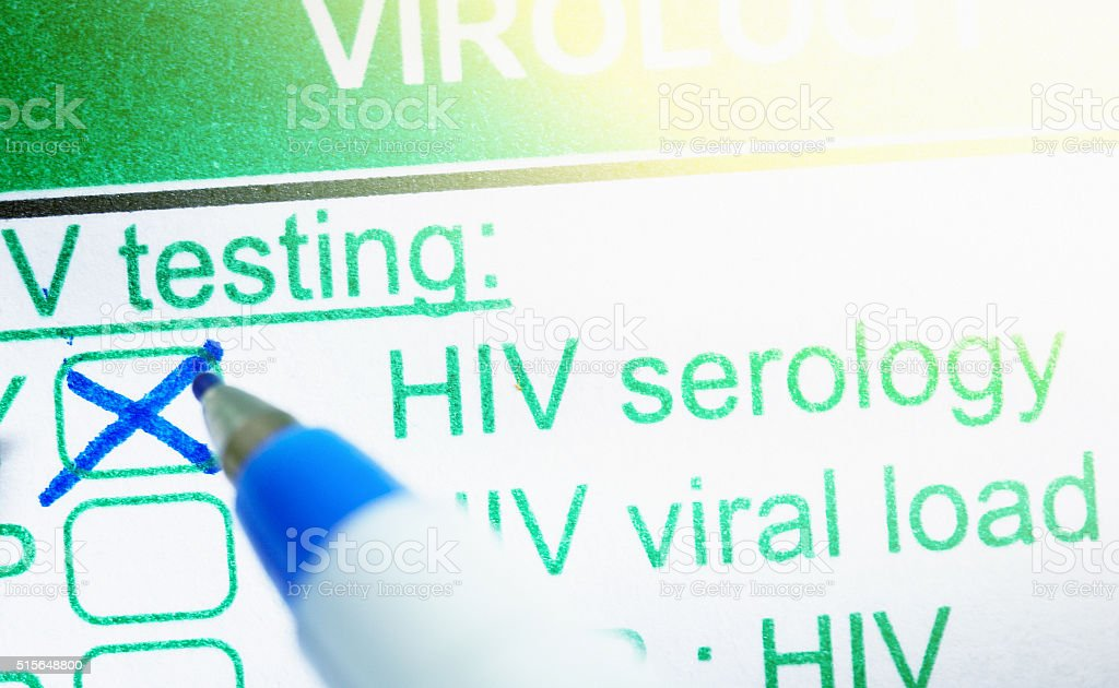 Medical form ordering tests for HIV stock photo