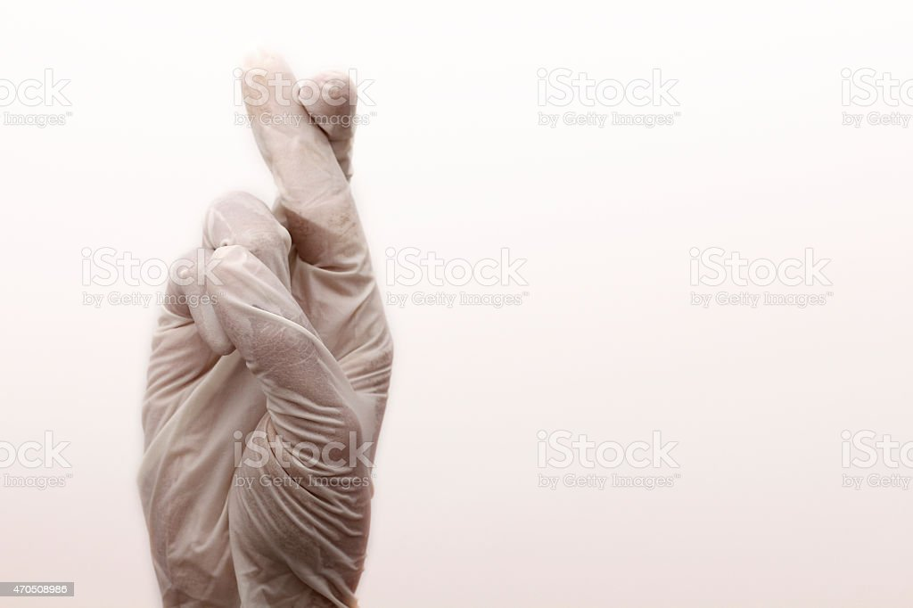 Medical Gloves Wishing Luck stock photo