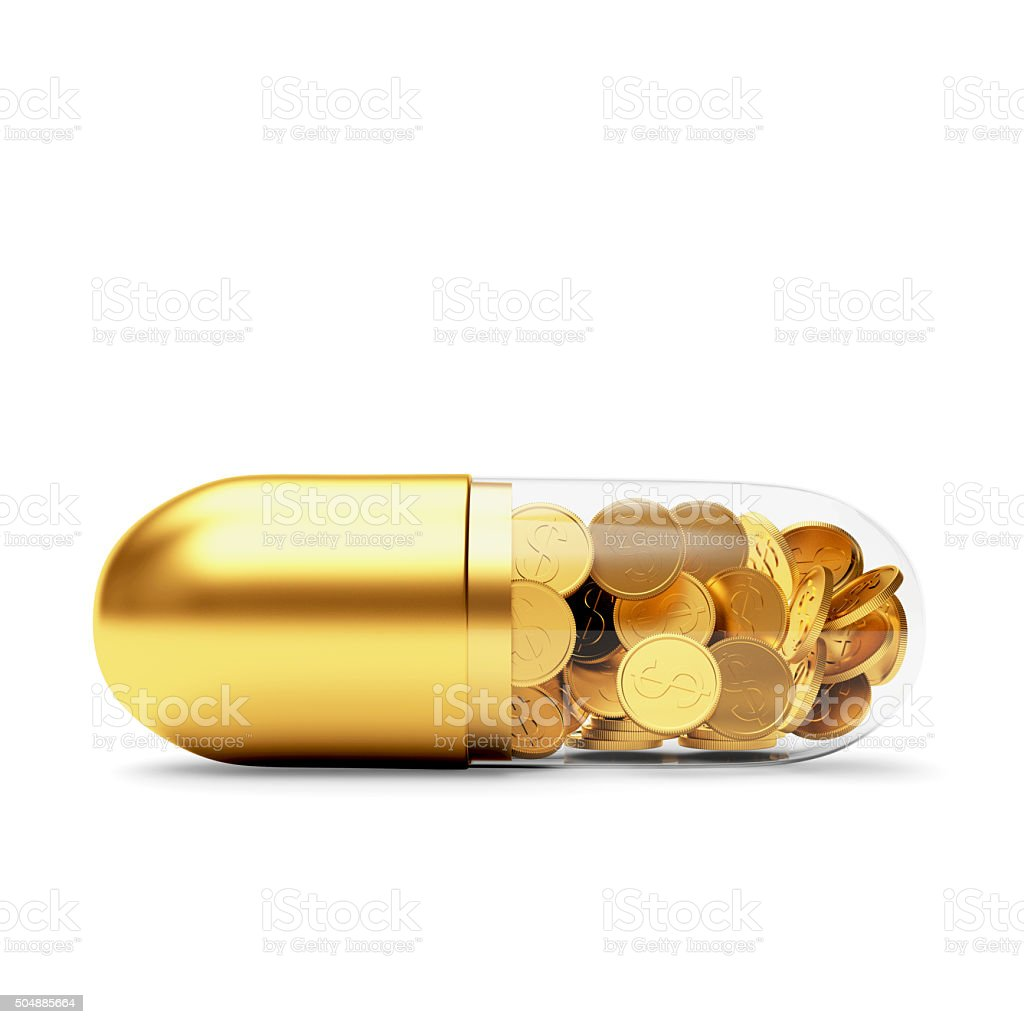 Medical golden capsule full of coins stock photo