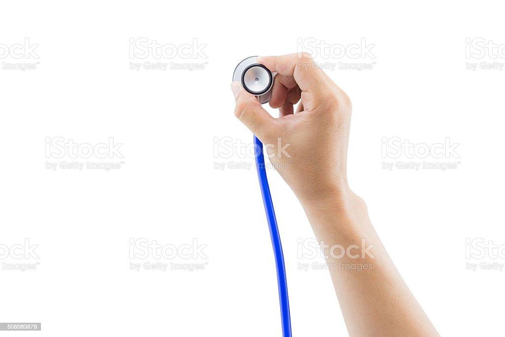 Medical, hand holding stethoscope, isolated on white background stock photo