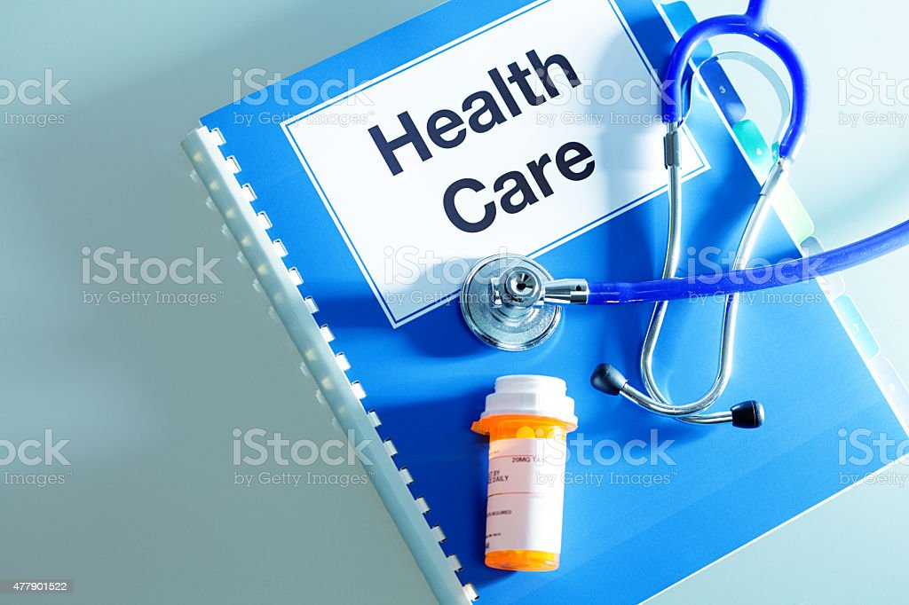 Medical Healthcare Insurance Benefits Document with Prescription Drug stock photo