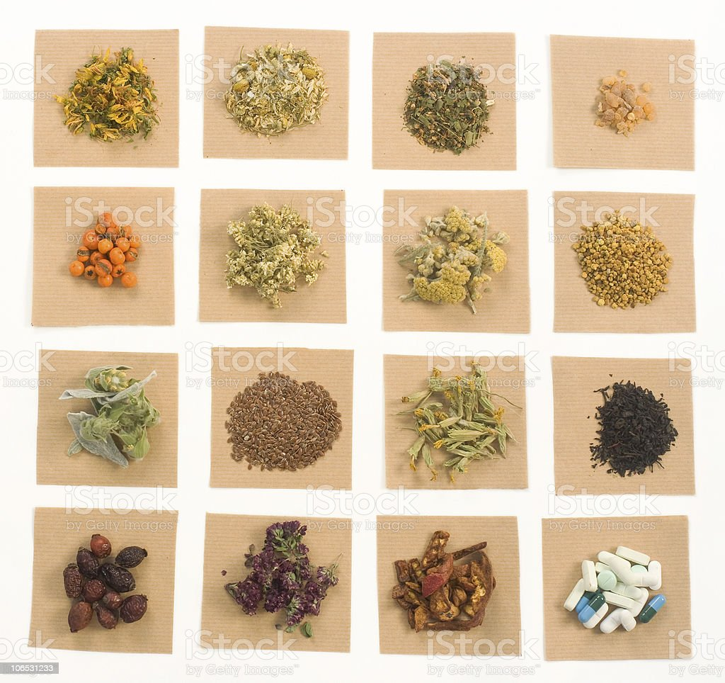 Medical Herbs, pills and capsules. stock photo