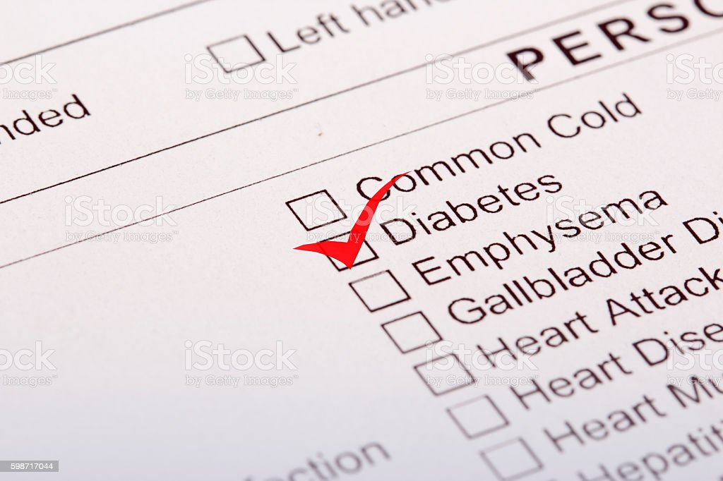 Medical history questionnaire with Diabetes ticked stock photo
