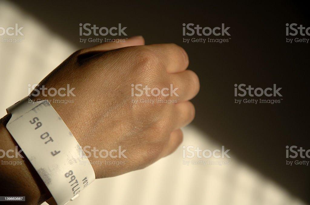 Medical identification bracelet stock photo
