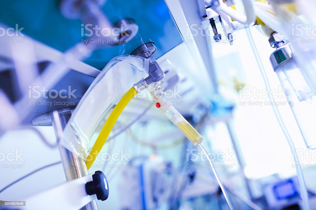 Medical image with the equipment in the hospital room stock photo