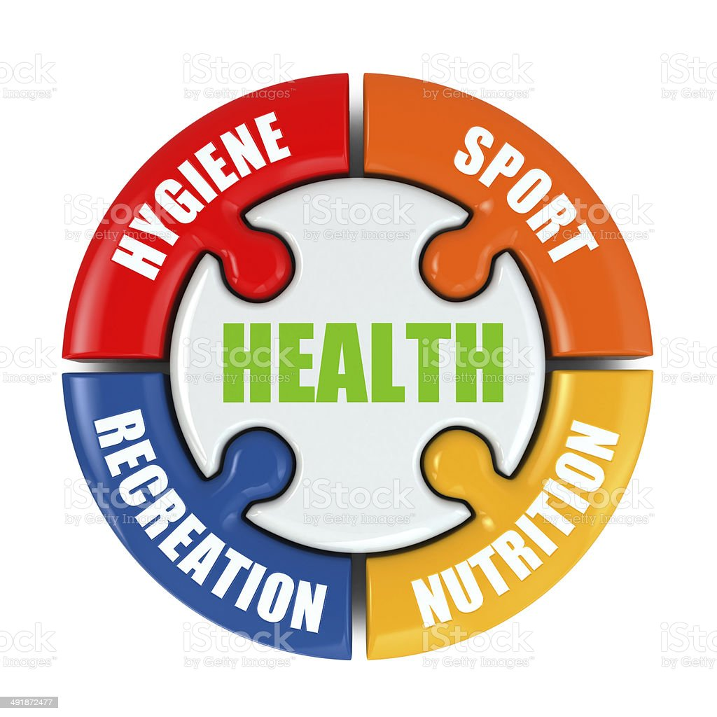 Medical infographic. Health is sport, hygiene, nutrition and rec stock photo