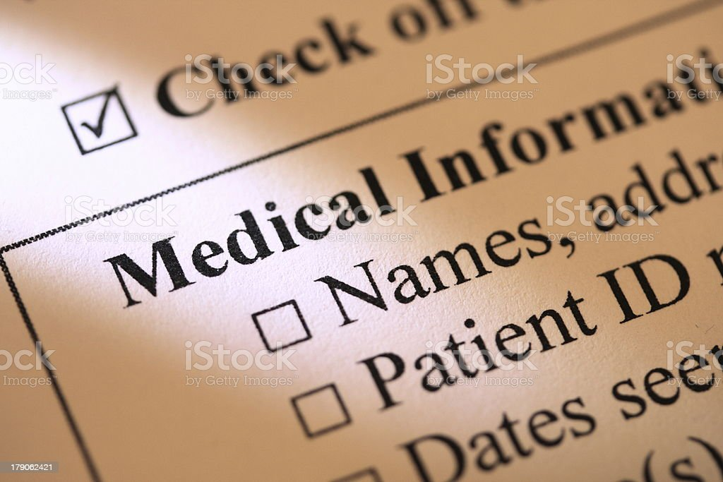 Medical Information Form stock photo