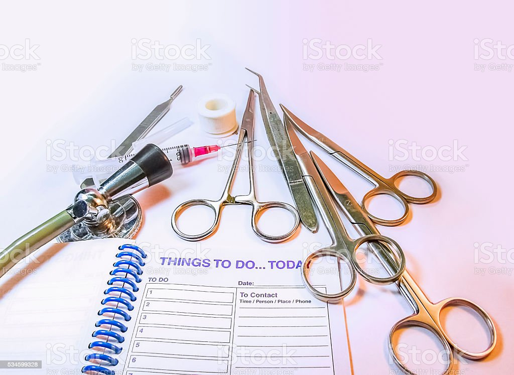 Medical Instruments,Stetgoscope and planneer note pad on white t stock photo