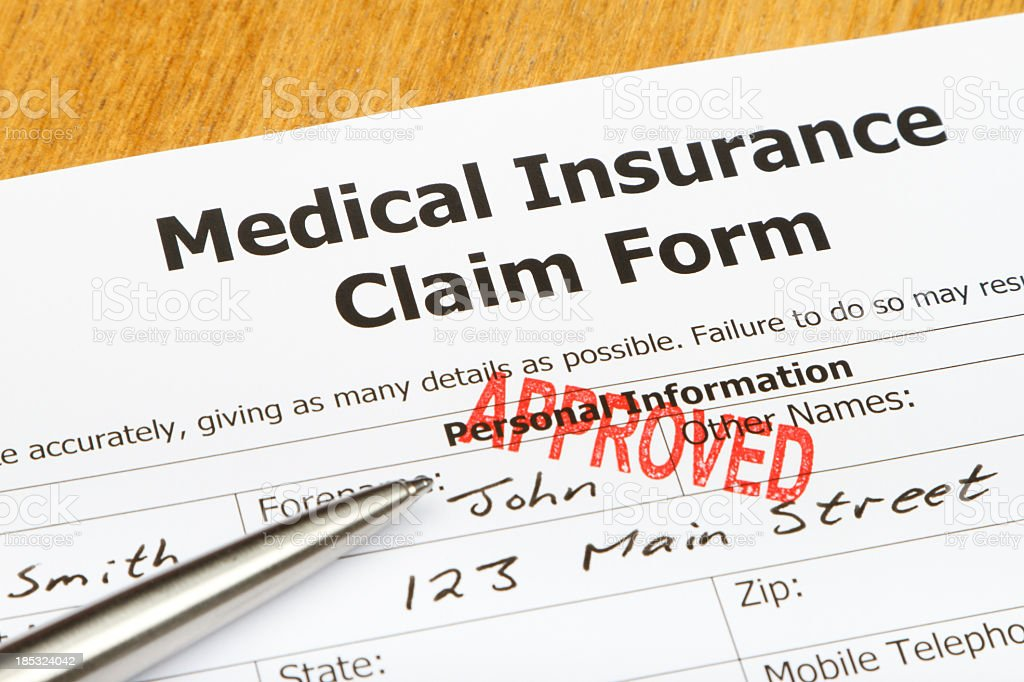 Approved Medical Insurance Claim Form stock photo