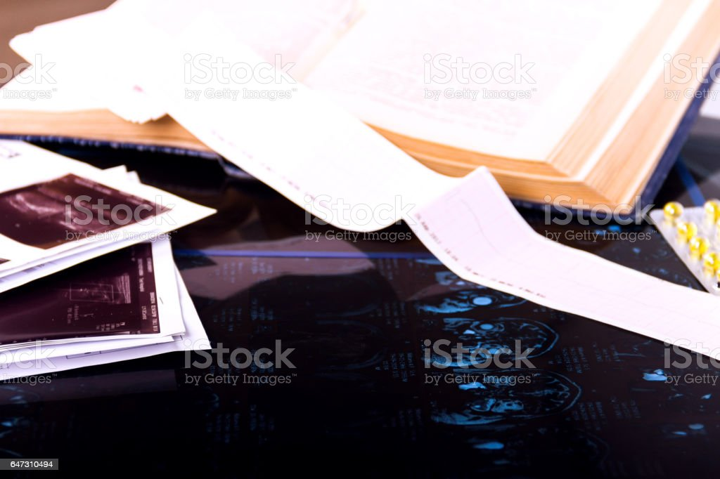 Medical lab workplace stock photo