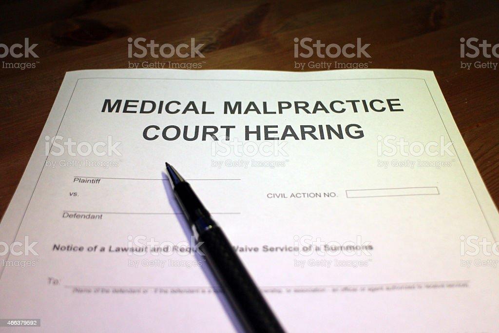Medical Malpractice Court Hearing Document stock photo