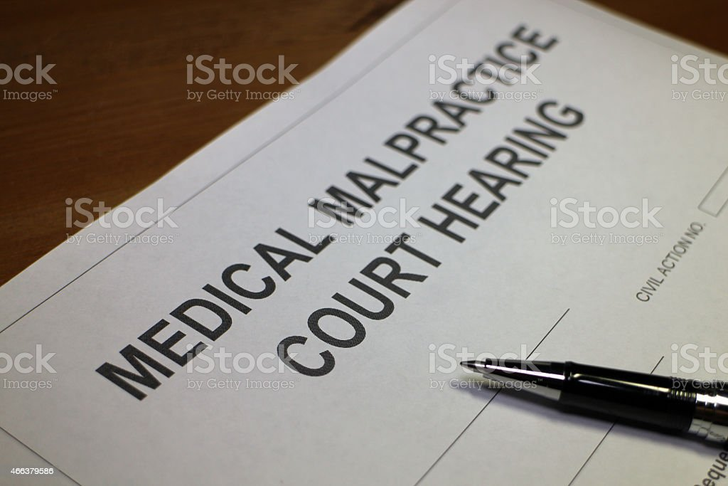 Medical Malpractice Court Hearing Form stock photo