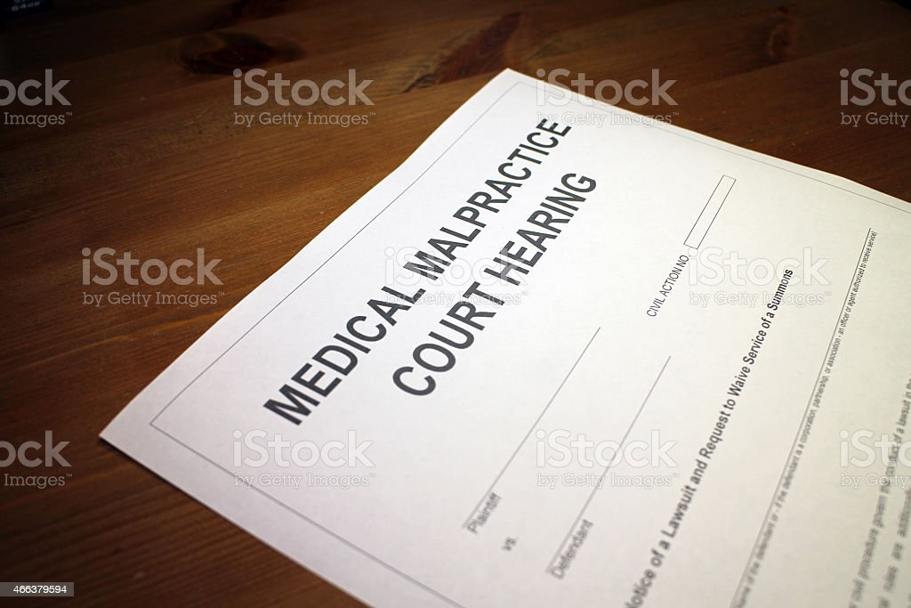 Medical Malpractice Court Hearing Paperwork stock photo