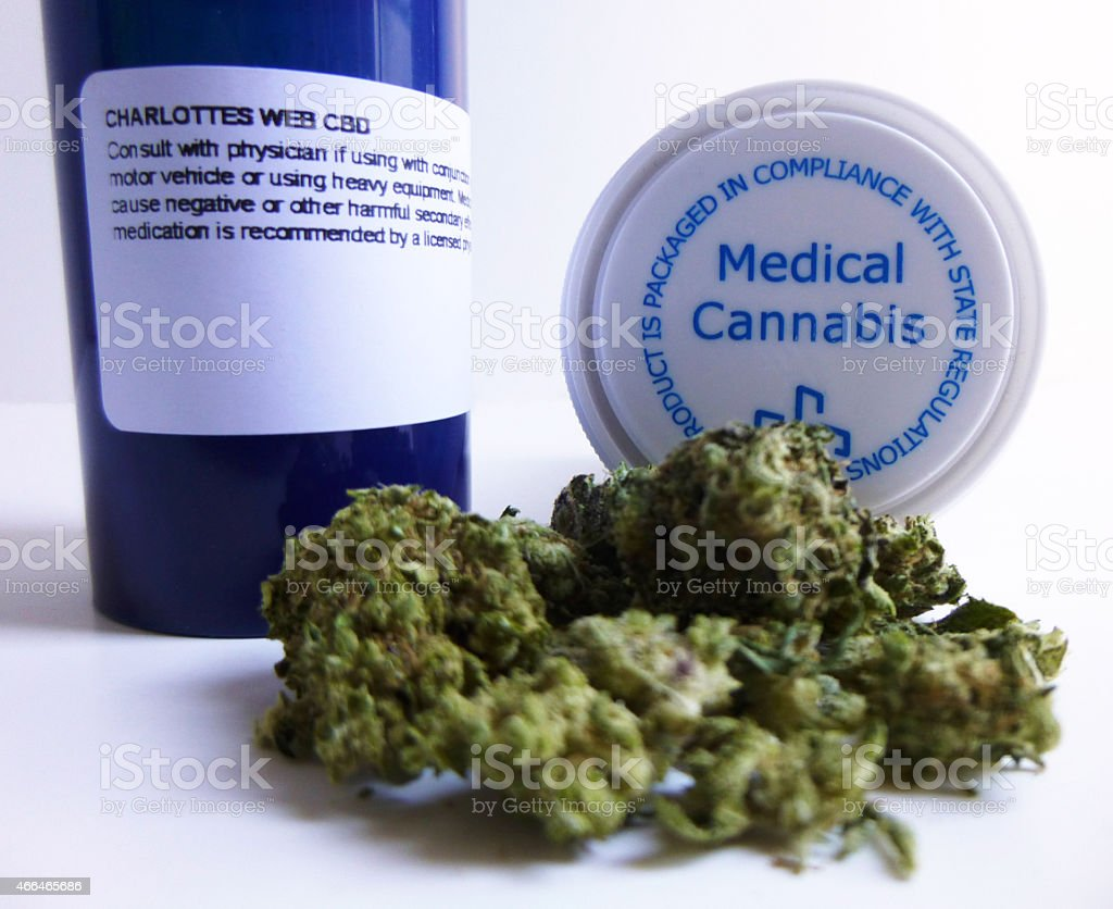Medical marijuana and two kinds of packaging stock photo